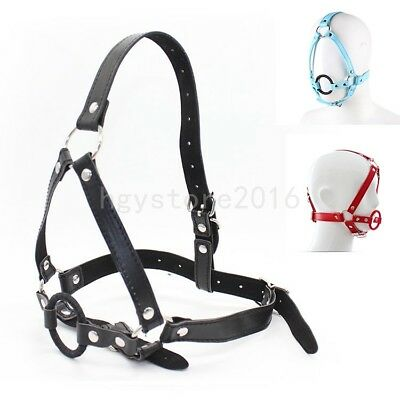 PU Leather Full Head Harness Belt with O-Ring Open Mouth Gag Oral Roleplay Slave