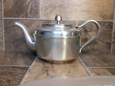 Vtg Reed & Barton U.S.N. NAVY MILITARY SOLDERED SILVER-PLATE SHIP TEAPOT 3610