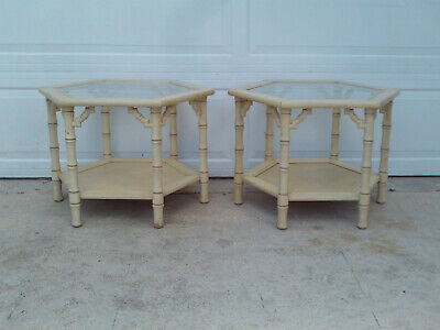 Vintage Pair Of MERSMAN Hexagon Faux Bamboo Fret Work End Tables Glass Top
