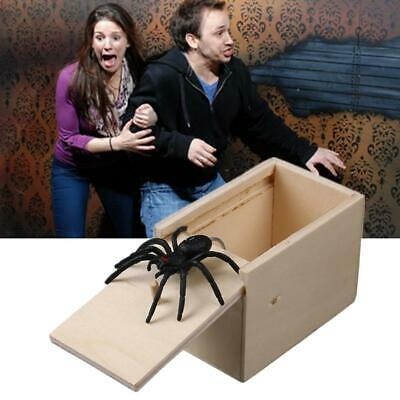 Unique Prank Wooden Spider Scare Box  Hidden in Case Play Joke Gag Toy Funny