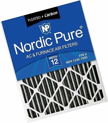 Nordic Pure 16x24x2 MERV 12 Pleated Plus Carbon AC Furnace Air Filters, 3 PAC...
