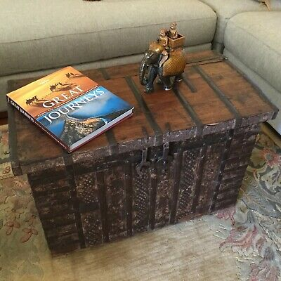 ANTIQUE 'Rare' WOODEN METAL TRUNK FROM BRITISH COLONIAL 'The Raj Era' RAJASTHAN