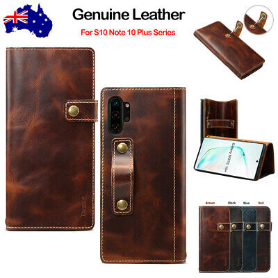 For Samsung Galaxy S10 Note 10 Plus 5G Genuine Leather Magnetic Flip Wallet Case