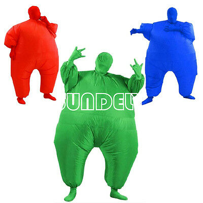 Inflatable Fat Chub Suit Second Skin Fancy Dress Party Costume Red, Green & Blue