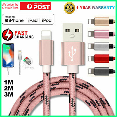Apple iPhone iPad iPod Charger Cable USB Lightning Cord Data 1M 2M 3M