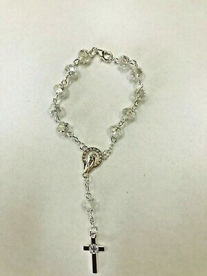 Rosary Of Clear Acrylic Beads With Crucifix In Silver For Kid Bracelet