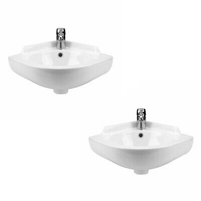 2 Small Corner Wall Mount Sink Bathroom Basin Soap Dishes Set of 2