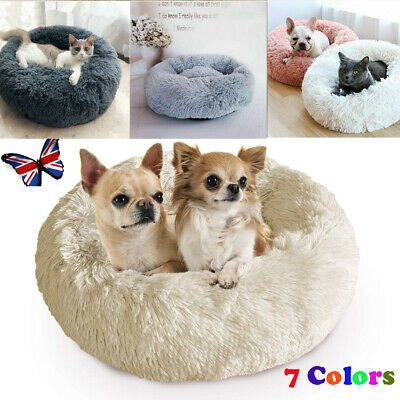 UK Pet Dog Cat Calming Bed Warm Soft Plush Round Cute Nest Sleeping Comfortable