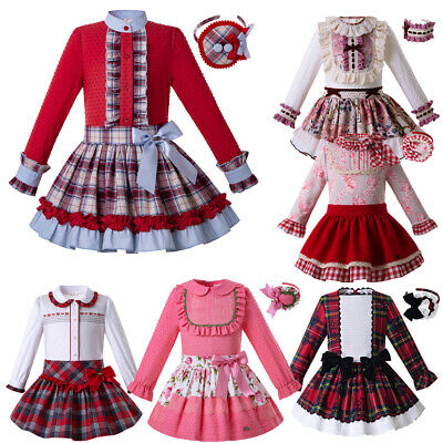 2019 New Autumn Girls Top+skirt Christmas Outfits Pageant Party Clothing 3-12Y