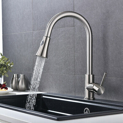 Brushed Kitchen Sink Faucet Pull Out Sprayer Single Hole Swivel Mixer Tap