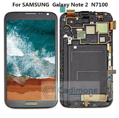 Per Samsung Galaxy Note 2 N7100 LCD Display Touch Screen Digitizer Frame Gray rl
