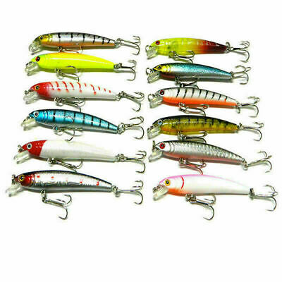 1pc Plastic Minnow Fishing Lures Bass Crankbait Tackle Gift Best Hig 7.52cm E8T8
