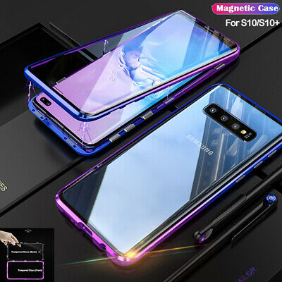 360° Magnetic Adsorption Metal Glass Case For Galaxy S10 Plus Double Sided Cover
