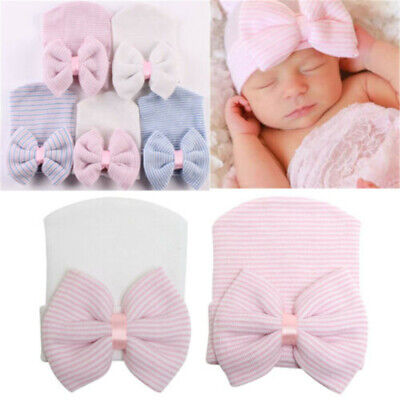 Baby Infant Soft Hat Girl Colorful Striped With Bow Cap Newborn Beanie Diomand