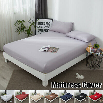 Plain Duvet Cover Quilt Bedding Set With Pillowcase Single Double King All Size