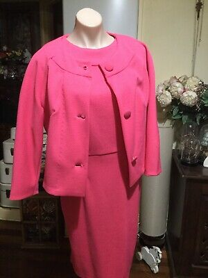 Pretty Pink Waffle Fabric Vintage Suit Dress Button Front Jacket Size 12-14