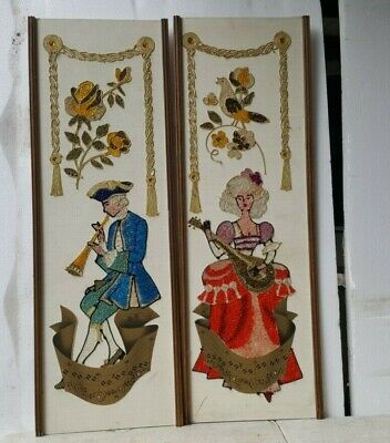 Vintage Mid-Century MCM Gravel Pebble Art Wall Hanging  Man Woman Musicians