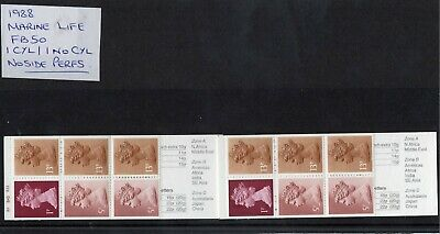 GB 1988 FOLDED 50p BOOKLETS FB50 x2.''MARINE LIFE'' SERIES. 1 with CYL,1 without