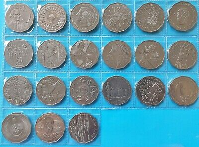 50c cent COMMEMORATIVE Coin Set 1970 - 2019. Total of 21 coins.