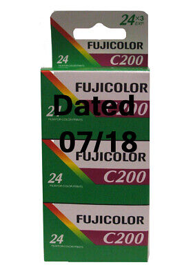Fuji Fujicolor C200 24exp 3 Pack film - Dated 07/18