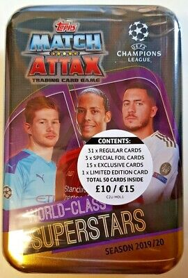 Topps Match Attax Season 2019/20 Tin 50 Cards+1 Ltd Ed = World-Class Superstars