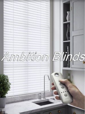 Faux Wood Wooden Venetian Blinds  Remote Control  Made To Measure