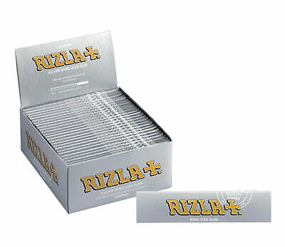 Rizla Tobacco Silver King Size Slim Cigarette Rolling Papers 50 Packets Full Box