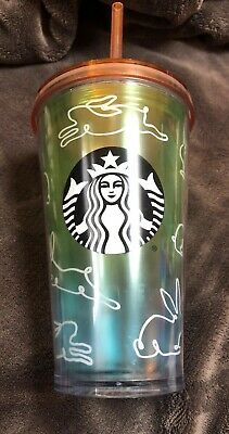 Starbucks Easter Spring 2019 Rainbow Bunny Tumbler Cold Cup HTF Grande w/ Straw