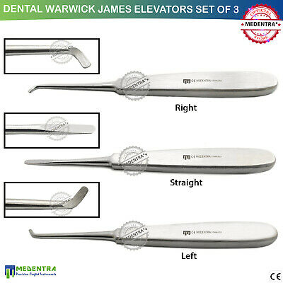 MEDENTRA®Dental Warwick James Surgical Tooth Loosening Extracting Elevators 3PCS