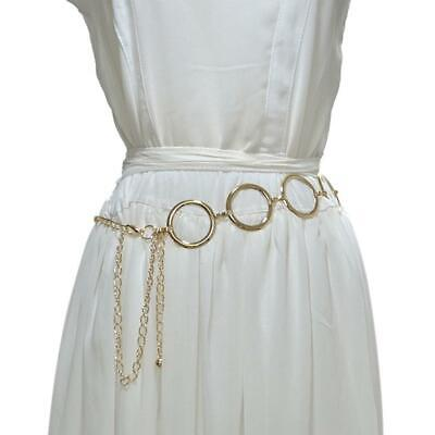 Women Metal Waist Chain Gold Plating Decorative Belt Circle Dress Chain-Belts