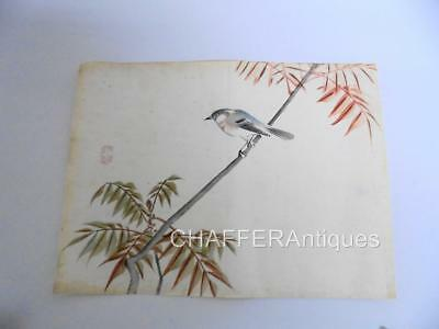 Antique Chinese Watercolour of a Mountain Finch with Artists Seal early 1900s