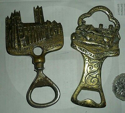 2 old cast brass bottle openers - Canterbury Cathedral & Anne Hathaways cottage