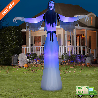 12' Lady Phantom Ghost Airblown Halloween Inflatable Reaper Short Circuit Light