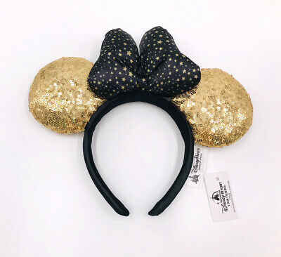 Disney Park Sequins Star Dot Bow Gold Minnie Mouse Ears Cute Mickey Cos Headband