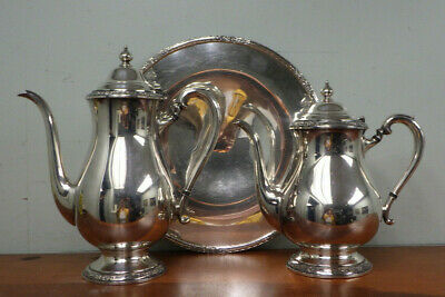 CAMILLE International Silver Co Silverplate Teapot Coffee Pot & Serving Tray