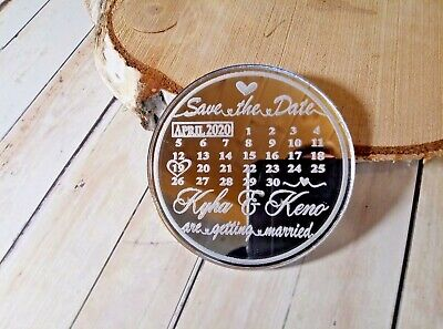 Mirror Finish Calendar Save The Date Fridge Magnets With Free Envelopes