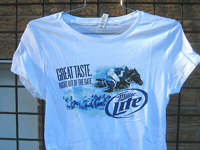 Ladies Miller LITE Beer T Shirt HORSE Racing Top MD  Equestrian kentucky DERBY