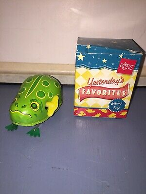 Vintage Russ Yesterdays Favorites Tin Mechincal Wind Up Swimming Frog With Box