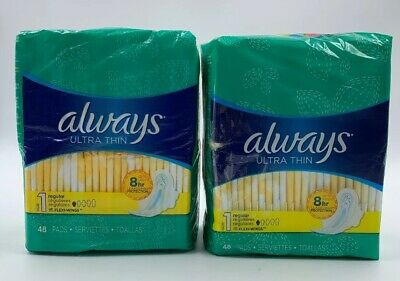 always ULTRA THIN with Flexi-Wings regular 96 Pads *** Feminine Care ***