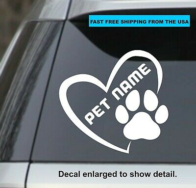 """Personalized Heart with paw Print 6"""" White Window Sticker Decal – Cat, Dog, Car"""