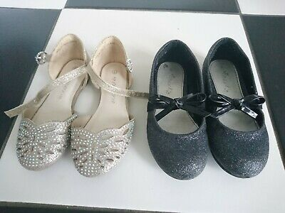 Next RjR girl glittery party ballerina shoes size UK 8 infant 2 pairs