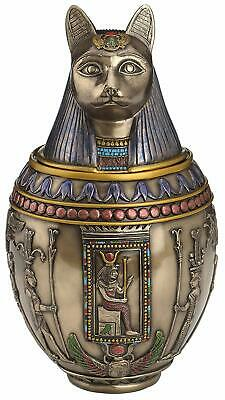 Rare Bastet Egyptian God Canopic Jar Cat Burial Urn Memorial - WE SHIP WORLDWIDE