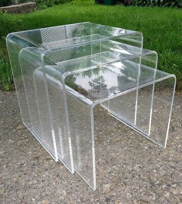 3 Pc Vtg MCM MODERN Lucite Waterfall Retro SPACE AGE Midcentury Nesting Tables
