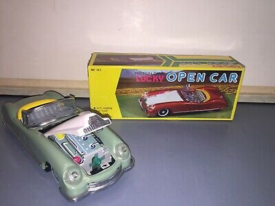 Vintage Tin Friction Drive Lucky Open Car In Box With Front Engine Action