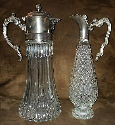 2 Vintage/Antique Crystal Glass and Silver Plated Beauties!  Pitcher & Cruet
