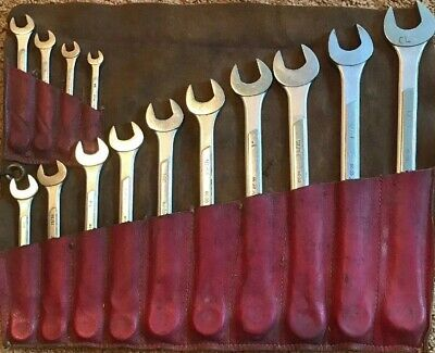 """Vintage Husky Tool 14 Pc Wrench Set Sizes 3/8""""- 1 1/4"""". W/ Leather Tool Roll!"""