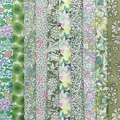"10 Liberty Print Tana Lawn fabric pieces - each min 5"" x 5"" - *SOFT GREENS* #2"