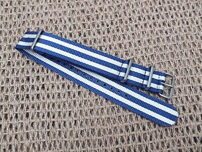 Zuludiver Nylon G10 Navy Divers watch strap Blue & White 20mm / Brushed Buckle