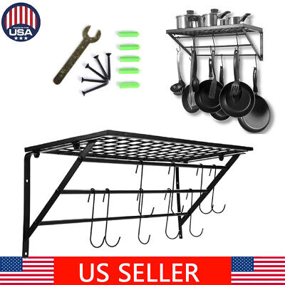 Wall Mount Kitchen Pot Pan Utensils Rack Cookware Holder Hanger Shelf Organizer