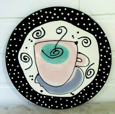 """With Love Joanne Plate Coffee Cafe' Au Lait Cup Pink Black White 8"""" Art Studio"""
